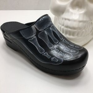 Dansko Skeleton Feet Hand Painted San Flex Clogs